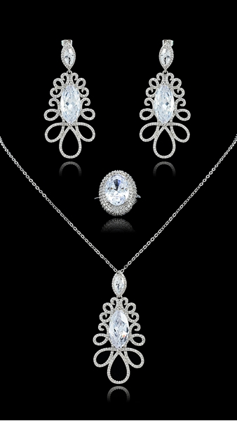 Picture of Popular White Cubic Zirconia 3 Pieces Jewelry Sets