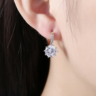 Picture of Fancy Medium White Small Hoop Earrings