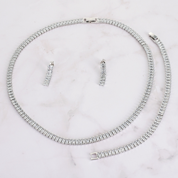 Picture of Fashionable Casual Platinum Plated 3 Piece Jewelry Set