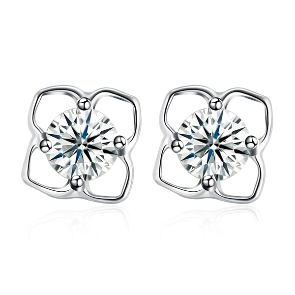 Picture of Popular Cubic Zirconia 925 Sterling Silver Stud Earrings