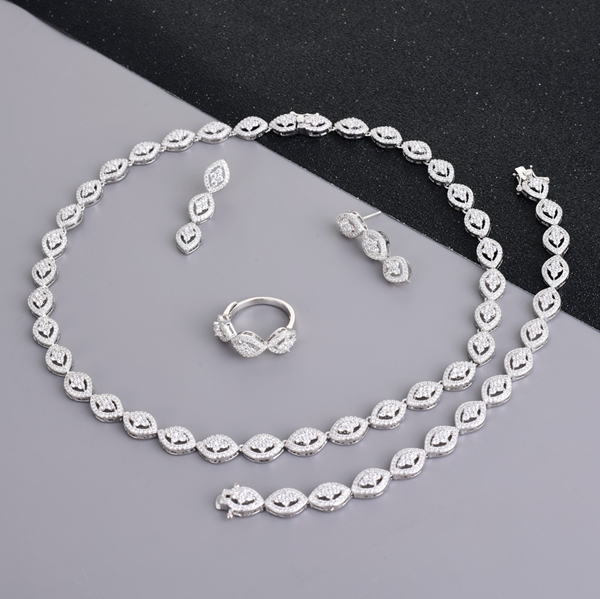 Picture of Pretty Cubic Zirconia Big 4 Piece Jewelry Set with Full Guarantee
