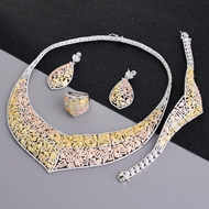 Picture of Low Cost Platinum Plated White 4 Piece Jewelry Set with Price