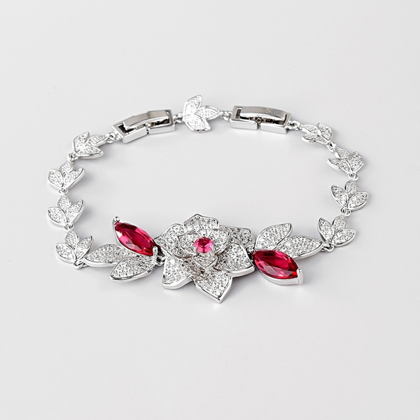 Picture of Sparkly Flowers & Plants Red Fashion Bracelet