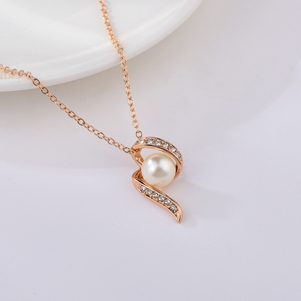 Picture of Bulk Rose Gold Plated Artificial Pearl Pendant Necklace Exclusive Online