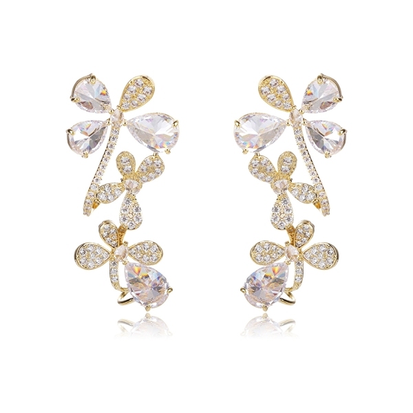 Picture of Purchase Gold Plated Big Front Back Earrings Best Price